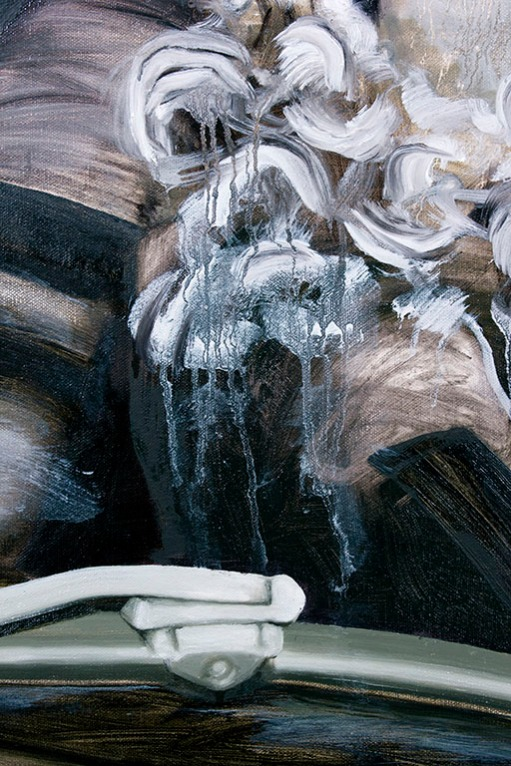 In the Middle of the Giant Lake I Cut the Engine (Detail), Oil on Canvas, 28 X 30