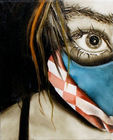 Accessory Self (Gas Mask), Oil on Canvas, 8 X 10, 2013