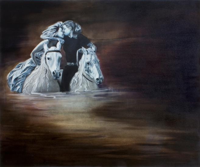 "Dark Desires After Dusk, 40"" X 48"", Oil on Canvas, 2014"